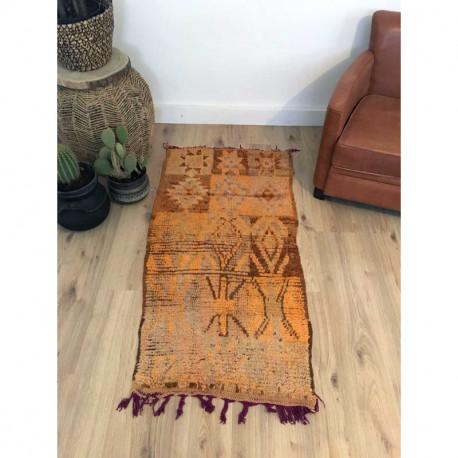 Petit tapis Boujad orange et marron en laine