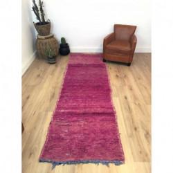 Tapis berbère de couloir Beni M'Guild violet laine pure