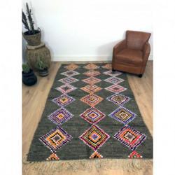Tapis berbère récent laine coton et tissus recylés, fond gris et motifs colorés losanges et carrés