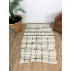 Petit tapis berbère Handira beige et blanc à paillettes argentées