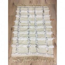 Tapis handira beige et blanc paillettes argentées et fils de coton