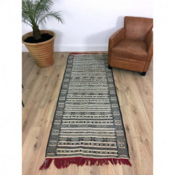 Long tapis Kilim berbère fin et souple aux nœuds serrés
