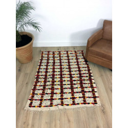 Tapis couverture berbère Handira beige et fils de coton rouge jaune noir