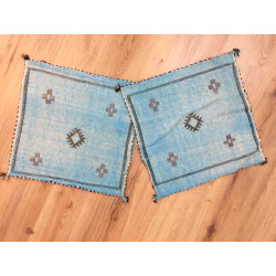 Housses de coussins berbères Sabra bleus