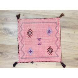 Trois housses de coussins berbères Sabra rose pastel