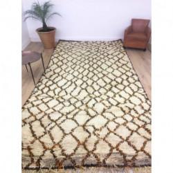 Grand tapis Beni Ouarain laine épaisse beige marron et orange