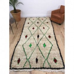 Tapis berbère Azilal laine pure et fils de coton couleurs vert fluo, noir et bordeaux