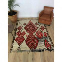 Tapis berbère ancien Azilal laine rase écrue et fils de coton rouge