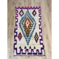 Tapis berbère Azilal de petite taille laine et coton motifs couleurs vives