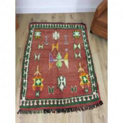 Tapis berbère Boujad rouge et vert motifs ethniques
