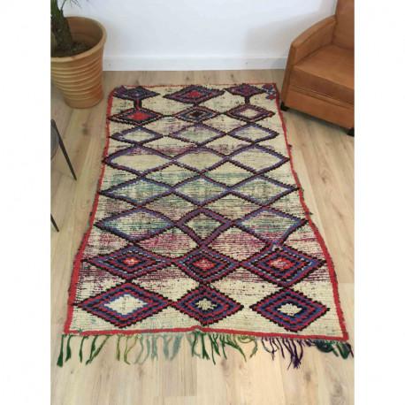 Ancien tapis berbère laine rase motifs losanges colorés