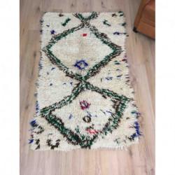 Tapis ancien Azilal laine et fils de coton colorés