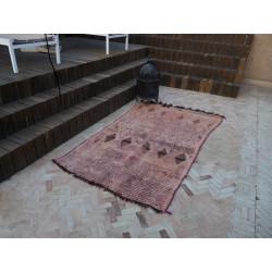 Ancien tapis berbère orange rosé délavé