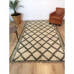 Magestueux tapis berbère Beni Ouarain motifs marrons gris sur fond beige