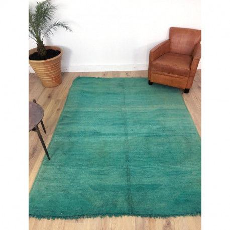 Magnifique tapis berbère Beni M'Guild vert emeraude