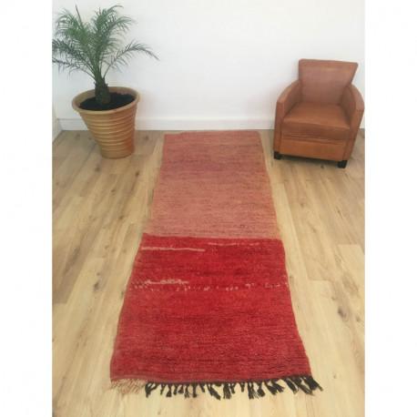 Long tapis berbère Beni M'Guild deux couleurs rouge et rosé