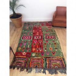 Tapis Boujad très coloré motifs berbères primitifs
