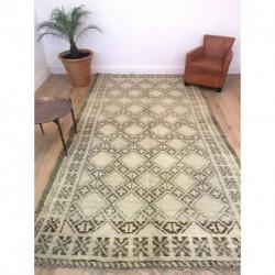 Grand tapis berbère Beni Ouarain blanc et gris brun
