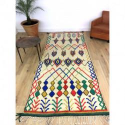 Tapis berbère Azilal fond écru, motifs jaunes, bleus, verts, rouges