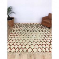 Grand tapis berbère Azilal fond écru lignes rouges et vertes