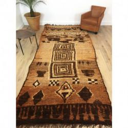 Incroyable tapis ancien Boujad marron orangé motifs primitifs