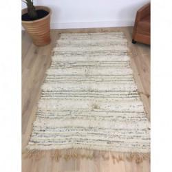 Authentique tapis Handira blanc écru du Maroc