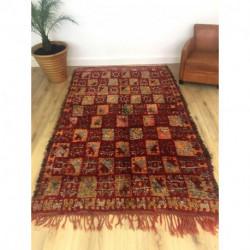Tapis M'Guild ancien laine pure rouge motifs berbères
