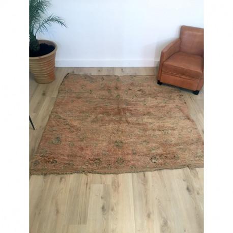 Rare et ancien tapis Beni M'Guild au format carré couleurs claires
