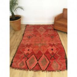 Tapis berbère ancien Boujad rouge motifs primitifs
