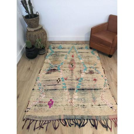 Ancien tapis berbère Boucherouite et laine fine