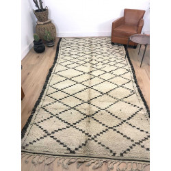 Ancien tapis berbère Beni Ouarain écru et marron