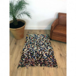 Tapis berbère Boucherouite en tissus recyclés aux multiples couleurs