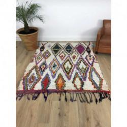 Suberbe tapis Boucherouite au fond blanc et losanges colorés